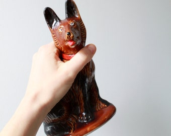 Vintage Ceramic German Shepherd Dog Figurine - Modern Retro
