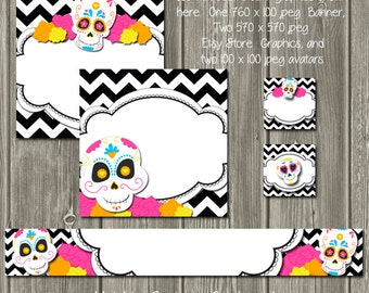 DIY Blank Etsy Banner Set - Day of the Dead Sugar Skull- Customize for your Store