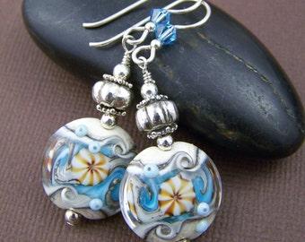 Mermaid Glass Bead Earrings - Artisan Lampwork Beaded Earrings with Sterling Silver