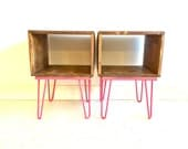 Rustic Modern SIde Tables In Wood and Hot Pink