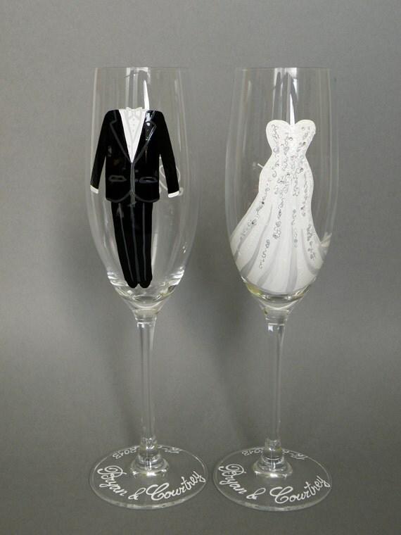 Hand Painted Flutes Wedding