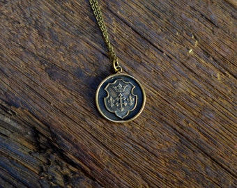 Wax Seal Necklace with Royal Coat of Arms Crest in bronze - Fleur de Lis and Crown