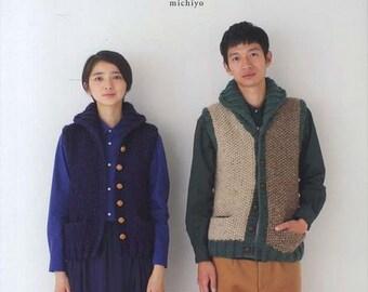 Sweet Couple Knit - michiyo - Japanese Knitting & Crochet Pattern Book for Women, Men Clothing, Vest, Pullover, Cap, Sock, Cardigan, B1335