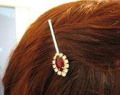 Ruby and Diamond Rhinestone Bobby Pin Decorative Hair Pin Recycled Vintage Jewelry Diamond Hair Pin Retro Hair Accessories Hair Pins