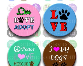Instant Download - Rescue Adopt Dog Collage Sheet - 1 inch circles for bottlecaps, jewelry, pendants, hair bows 356
