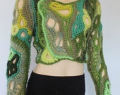 Sale 40% OFF only this month Shades of Green Chunky Freeform Crochet Sweater  Top - Cropped Sweater Top - Long Sleeved - Wearable Art - OOAK
