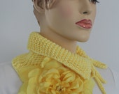 Yellow Hand knitted  Women Scarf with Big Silk Flower - Neck Warmer - ready to ship