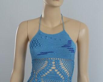 Ready to ship - Blue Cotton Crochet Tank - Top - Halter - Summer - Corset