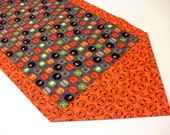 Halloween Table Runner or Dresser Scarf - Cotton - Reversible - Jack O'Lanterns, Mummy, Ghost, Spider Web, Candy Corn - Orange and Black