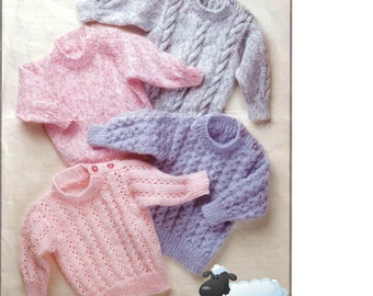 Knitting PATTERN - Baby and child's Sweaters - 4 designs - 18 to 28 inch chest sizes