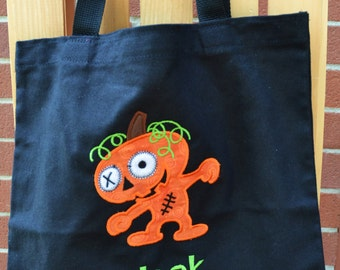 Trick or Treat Bag Canvas Bag Personalized Halloween tote Owl or Witch or Spider or Black Cat or Pumpkin Zombie Boy Monogrammed Name