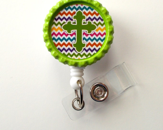Chevron Cross Green - Nursing Badge Holder - Teacher Badge Reel  - Nurse Name Badge - Nurses Badge - Cute ID Badge Reel - RN Badge