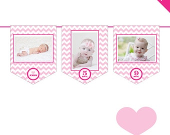 INSTANT DOWNLOAD Pink Chevron - DIY printable photo banner kit