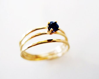 Royalty. Engagement Blue Sapphire Gold Ring. Unique Hammered 14K Gold Ring. Dainty Floating Sapphire Proposal Ring. Recycled Conflict Free.
