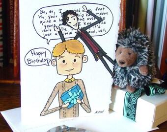Sherlock Birthday Card v2 - BBC Sherlock Holmes and John Watson - Photobomb