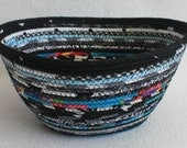 Fabric Coiled Basket / Bowl / Black White Teal Large Oval by PrairieThreads