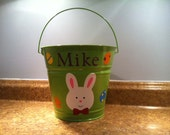 Personalized Easter basket/pail for boys - Bunny with bowtie and Easter eggs