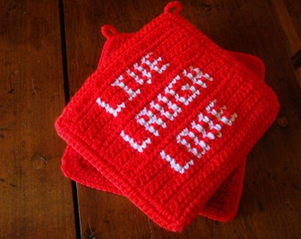 Red Live Laugh Love Potholders, Red and White Crochet, Crocheted Potholders, Pot Holders, Hot Pads, Trivets, Wedding Gift, Housewarming