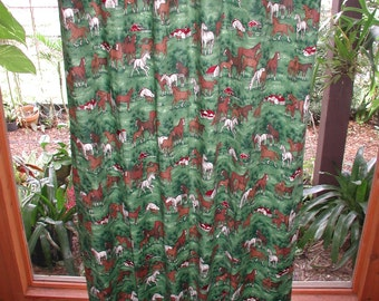 Blackout Curtains Green Horse, Blackout Window Treatments, Window Door Shades, Green Meadows Horse Print Blackout Drapes, Home Decorating