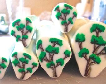 Tree Cane. Polymer Clay Cane, Raw Millefiori Cane, Handmade Cane, Craft Supply, Polymer Clay, Green Clay, Woodland Crafts, Jewelry Crafts