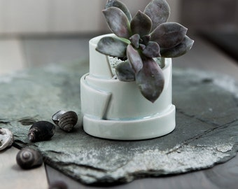 Hand Built Porcelain Planters with Drainage- Tiered Collection