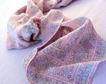 Powder Pink Floral Scarf, Designer Liz Claiborne, Silk, Pastel Print and Border, Paisley Damask Weave, 80s
