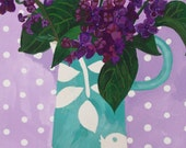 High quality blank greeting card professionally printed from an original painting called Lilacs by Claire Leggett