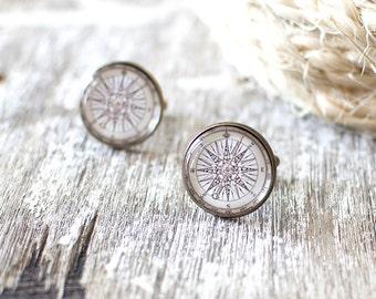 Vintage Compass Rose Cufflinks. Nautical Cufflinks. Vintage Travel Cufflinks. Traveller Gift. Wanderlust Cufflinks. Cufflinks for Him.