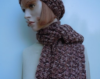 Brown Hat and Scarf Set, Brown Slouch and Scarf, Crocheted Hat and Scarf, Womens Hat and Scarf