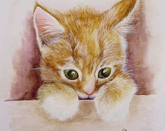 Custom Cat Kitten Pet Portrait Original Watercolor Painting 8 x 10