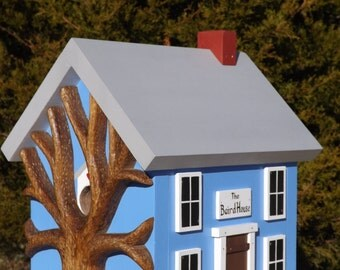 Personalized Birdhouse with Hand Carved Tree