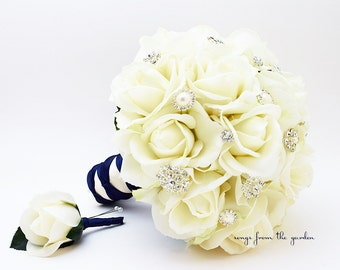 Silk Flower Bridal Bouquet Real Touch Roses & Rhinestones White Silk Flower Real Touch Rose Groom's Boutonniere