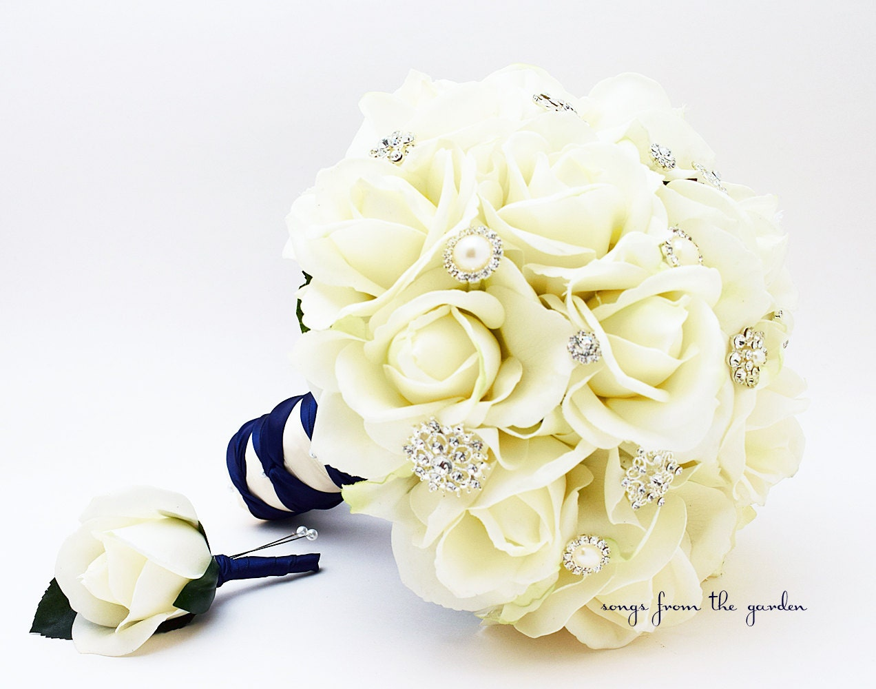 Silk Brides: Silk Flower Bridal Bouquet Real Touch Roses & Rhinestones