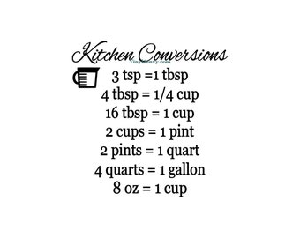 Kitchen Conversion Chart - Wall Decal - Vinyl Wall Decals, Wall Decor, Kitchen Wall Decals, Kitchen Wall Decor, Kitchen Cabinets