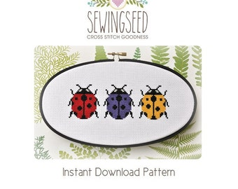 Ladybug Trio Cross Stitch Pattern Instant Download