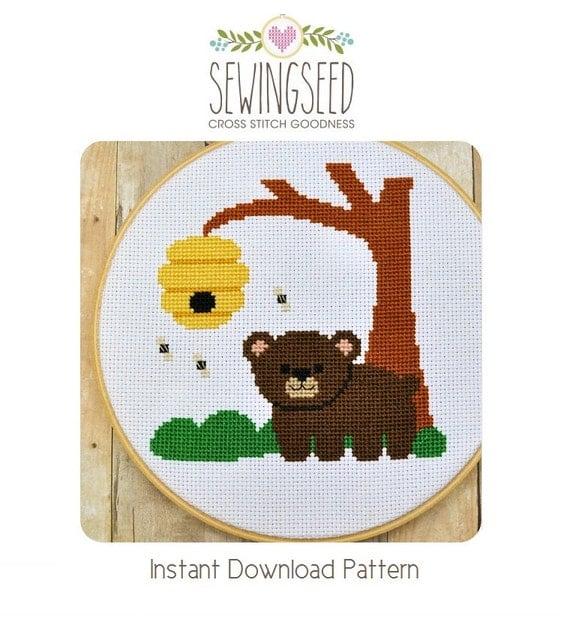 Little Bear Cross Stitch Pattern Instant Download