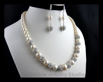 White Cultured Pearls, Pave Crystal Beads, Graduated Necklace, Dangle Earrings, 925 Sterling Silver, Freshwater, Clear CZ, Set, Jewelry