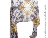 Shibori Silk scarf  hand dyed Grey-Yellow