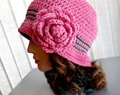 "Raspberry ""Clara Cloche"" Crocheted Hat - Flapper, 1920's, Stylish, Spring, Crocheted Rose"