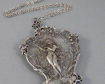 Hera,Goddess,Flowers,Necklace,Locket,Silver Locket,Girl,Alphonso Mucha,Goddess,Antique Locket,Night,Woodland,Jewelry,Goddess Locket,