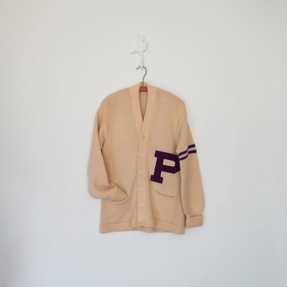 40s Cardigan Sweater // Vintage Varsity Letterman Sweater // Letter P