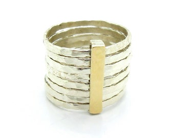 Stacking silver ring with a hammered gold bar