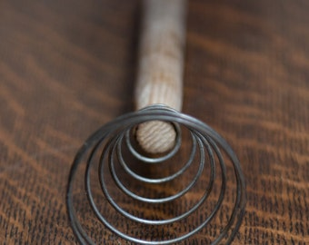 Primitive Wire Egg Beater/Whisk With Wooden Handle