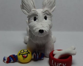 Custom Dog Figure with Personalized Bowl and Favorite Toy