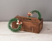Antique Wooden Tool Carrier Primitive Divided Box: Vintage Storage Tote Caddy, Rustic Farmhouse