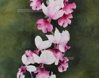 "pink orchids original 11"" x 14"" watercolor"