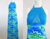 c1970's Crochet Halter Summer Dress Sz S
