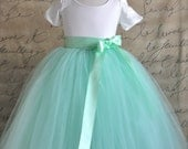 Mint green with mint satin bow ribbon Flower Girl tutu.  Weddings, birthday, special occasion. Mint, charcoal, ivory or silver grey ribbon .