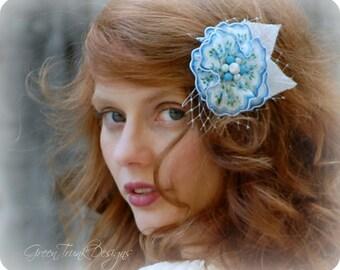 Blue Bridal Hair Flower Corsage Brooch Vintage Retro Pinup Hair Flower