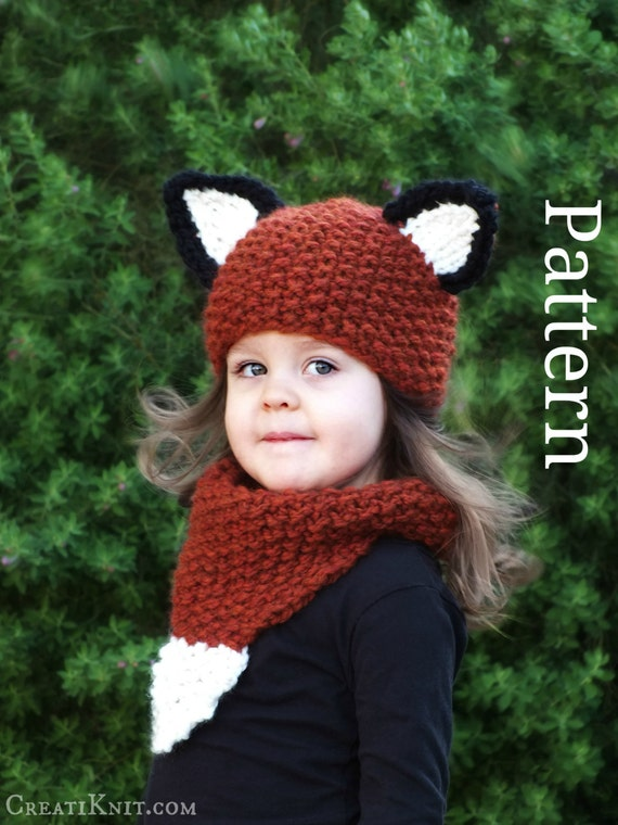 Knitting PATTERN-Baby Fox Hat and Cowl (Baby,Toddler,Child sizes)